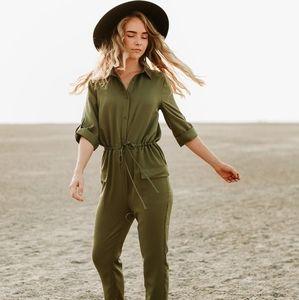 Comfy Olive Green Jumpsuit Tie Waist Sz S
